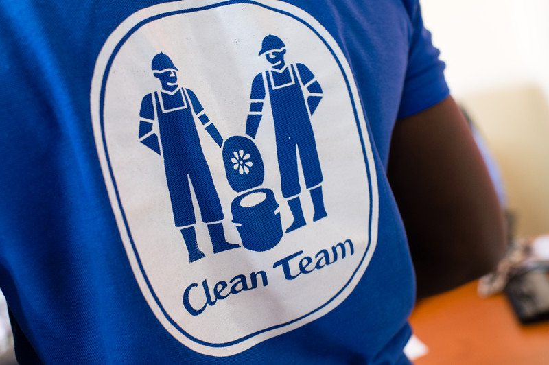 The Clean Team logo on a t-shirt in Kumasi_ Ghana